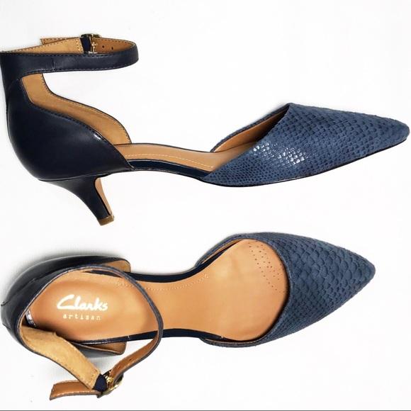 03aa76c344 Clarks Shoes | Lynvale Edyth Pointed Toe Heels Blue Snake | Poshmark